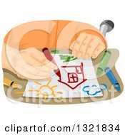 Clipart Of A Senior Man Drawing With Crayons Royalty Free Vector Illustration