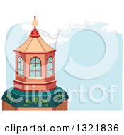 Clipart Of A Domed Cupola Building Against Blue Sky And Clouds Royalty Free Vector Illustration
