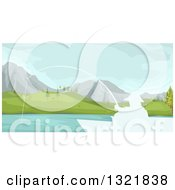 Clipart Of A White Silhouetted Man Fishing From A Boate On A Mountainous Lake Royalty Free Vector Illustration by BNP Design Studio