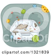 Clipart Of A Bacteria Covered Container Royalty Free Vector Illustration