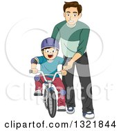 Clipart Of A Brunette White Male Father Teaching His Son How To Ride A Bike Royalty Free Vector Illustration