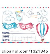 Clipart Of A Stork Flying A Baby With A Hot Air Balloon On A Gender Reveal Invitation Royalty Free Vector Illustration by BNP Design Studio