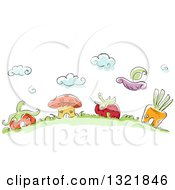 Clipart Of A Hill With Sketched Vegetable And Fruit Shaped Houses Royalty Free Vector Illustration by BNP Design Studio