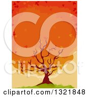 Clipart Of A Flaming Maple Tree On A Hill Royalty Free Vector Illustration by BNP Design Studio