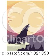 Clipart Of A Black Silhouetted Howling Wolf Against A Sunset On A Cliff Royalty Free Vector Illustration