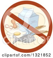Prohibited Food Allergy Symbol Over Fish Wheat Eggs Peanuts And Milk