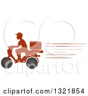 Fast Silhouetted Food Delivery Man On A Motorcycle