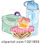 Clipart Of A Lunch Box Food And Water Bottle Royalty Free Vector Illustration