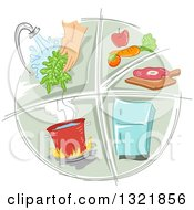 Clipart Of A Sketched Food Preparation And Sanitation Icon Royalty Free Vector Illustration