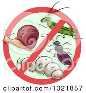 Clipart Of A Prohibited Symbol Over Garden Pests Royalty Free Vector Illustration by BNP Design Studio