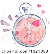 Clipart Of A Speed Dating Stop Watch With Hearts Royalty Free Vector Illustration