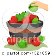 Clipart Of A Hand Putting A Green Apple On A Barrel Royalty Free Vector Illustration