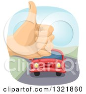 Clipart Of A Hithchiker Hand Holding Up A Thumb And An Aproaching Car Royalty Free Vector Illustration by BNP Design Studio