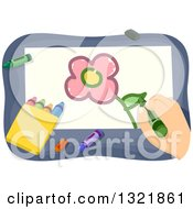 Clipart Of A Hand Drawing A Flower With Crayons Royalty Free Vector Illustration