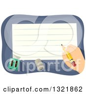 Clipart Of A Hand Writing On Ruled School Paper Royalty Free Vector Illustration