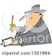 Clipart Of A Cartoon Chubby White Man Writing On A Clipboard Royalty Free Vector Illustration