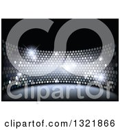 Clipart Of A Disco Themed Background Of Sparkly Lights On Black Royalty Free Vector Illustration