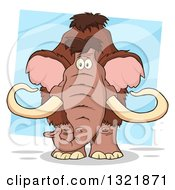 Clipart Of A Cartoon Woolly Mammoth Over A Tilted Blue Square Royalty Free Vector Illustration