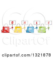 Clipart Of Cartoon Colorful Shopping Bag Characters Holding Up Sale Signs Royalty Free Vector Illustration by Hit Toon
