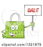 Clipart Of A Cartoon Green Shopping Bag Character Holding Up A Sale Sign Royalty Free Vector Illustration by Hit Toon