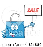 Clipart Of A Cartoon Blue Shopping Bag Character Holding Up A Sale Sign Royalty Free Vector Illustration by Hit Toon