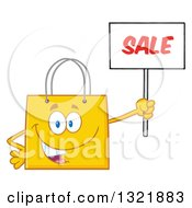 Clipart Of A Cartoon Yellow Shopping Bag Character Holding Up A Sale Sign Royalty Free Vector Illustration by Hit Toon