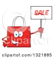 Clipart Of A Cartoon Red Shopping Bag Character Holding Up A Sale Sign Royalty Free Vector Illustration