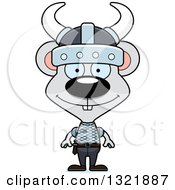 Clipart Of A Cartoon Happy Mouse Viking Royalty Free Vector Illustration