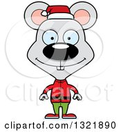 Clipart Of A Cartoon Happy Mouse Christmas Elf Royalty Free Vector Illustration