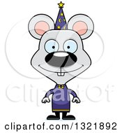Clipart Of A Cartoon Happy Mouse Wizard Royalty Free Vector Illustration