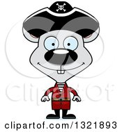 Clipart Of A Cartoon Happy Mouse Pirate Royalty Free Vector Illustration