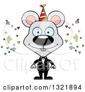Clipart Of A Cartoon Happy Party Mouse Royalty Free Vector Illustration