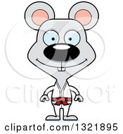 Clipart Of A Cartoon Happy Karate Mouse Royalty Free Vector Illustration