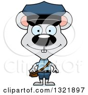 Clipart Of A Cartoon Happy Mouse Mail Man Royalty Free Vector Illustration