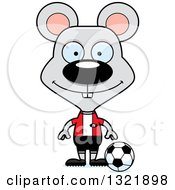 Clipart Of A Cartoon Happy Mouse Soccer Player Royalty Free Vector Illustration