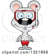 Clipart Of A Cartoon Happy Mouse Wearing Snorkel Gear Royalty Free Vector Illustration