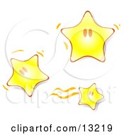 Three Happy Little Yellow Stars Bouncing Around Clipart Illustration
