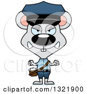 Clipart Of A Cartoon Mad Mouse Mail Man Royalty Free Vector Illustration