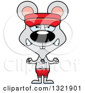 Clipart Of A Cartoon Mad Mouse Lifeguard Royalty Free Vector Illustration