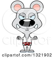 Clipart Of A Cartoon Mad Karate Mouse Royalty Free Vector Illustration