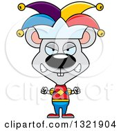 Clipart Of A Cartoon Mad Mouse Jester Royalty Free Vector Illustration