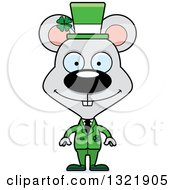 Clipart Of A Cartoon Happy St Patricks Day Irish Mouse Royalty Free Vector Illustration