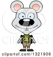 Clipart Of A Cartoon Happy Mouse Hiker Royalty Free Vector Illustration