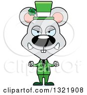Clipart Of A Cartoon Mad St Patricks Day Irish Mouse Royalty Free Vector Illustration
