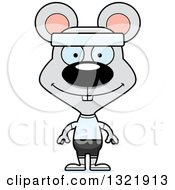 Clipart Of A Cartoon Happy Fitness Mouse Royalty Free Vector Illustration