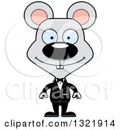 Clipart Of A Cartoon Happy Mouse Groom Royalty Free Vector Illustration