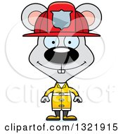 Clipart Of A Cartoon Happy Mouse Fire Fighter Royalty Free Vector Illustration