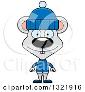 Clipart Of A Cartoon Happy Mouse In Winter Clothes Royalty Free Vector Illustration