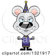 Clipart Of A Cartoon Mad Mouse Wizard Royalty Free Vector Illustration