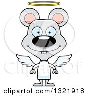 Clipart Of A Cartoon Happy Mouse Angel Royalty Free Vector Illustration
